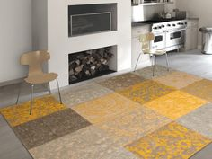 Vintage - Yellow Free UK delivery on all Louis de Poortere rugs. Vintage collection - distressed designs in a patchwork style - perfect large rugs for living rooms or bedrooms.