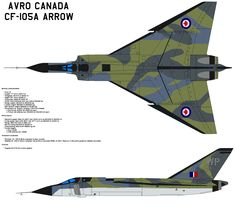 """The """"Avro Arrow"""" CF-105 Fighter Plane was a delta-winged interceptor aircraft, designed and built by Avro Canada as the culmination of a design study that began in 1953. The Arrow is considered to have been an advanced technical and aerodynamic achievement for the Canadian aviation industry. The CF-105 (Mark 2) held the promise of near-Mach 2 speeds at altitudes of 50,000 feet (15,000 m) and was intended to serve as the Royal Canadian Air Force's primary interceptor in the 1960s and beyond."""