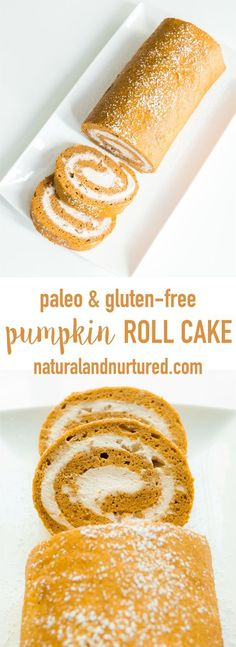 Amazingly delicious and healthy pumpkin roll cake with coconut whipped cream! Paleo, gluten-free, dairy-free, and refined sugar-free. Perfect for the holidays!