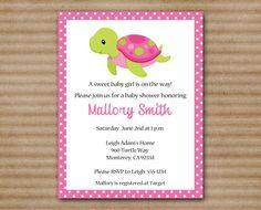 Sea Turtle Baby Shower Invitation / Under The Sea / Ocean / Beach / Pink / Green / Girl - PRINTABLE