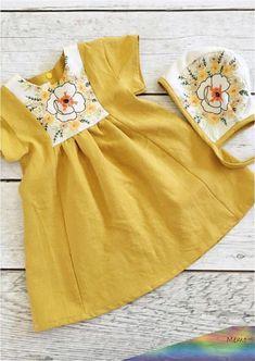 Baby Dress Handmade Mustard Linen Toddler Dress With Vintage Embroidery Toddler Dress, Toddler Outfits, Toddler Girl, Kids Outfits, Baby Outfits, Baby Girl Fashion, Fashion Kids, Little Girl Dresses, Girls Dresses