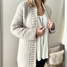 Lorelei Cardigan Crochet Pattern Easy/Intermediate | Etsy Crochet Beanie Pattern, Crochet Cardigan Pattern, Sweater Knitting Patterns, Easy Crochet Patterns, Crochet Coat, Pull Crochet, Stitch Crochet, Double Crochet, Mode Chic