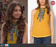 Riley's yellow beaded top on Girl Meets World.  Outfit Details: http://wornontv.net/44123/ #GirlMeetsWorld