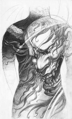 Chronic Ink Tattoo - Toronto Tattoo Hannya back piece sketch done by David.