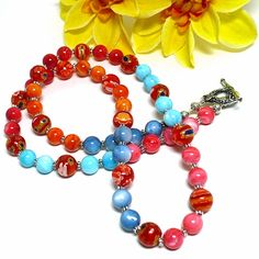 #MultiColor #Mother of #Pearl Orange Millefiore 25 inch #Handmade #Necklace   KatsAllThat - Jewelry on ArtFire