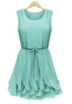 Green Belt Collarless Mini Chiffon Dress
