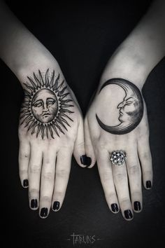 Sun and Moon tattoo not on the top of the hands though but maybe inner wrists
