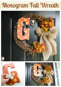 +I+am+seriously+in+love+with+my+new+fall+wreath!+Its+a+simple+monogram+wreath+that+looks+amazing+on+my+front+door!+The+fall+tones,+polkadots,+and+burlap+are+to+die+for.+Bring+on+Autumn! Monogram+Fall+Wreath Fall+is+one+season+that Monogram Wreath, Diy Wreath, Diy Monogram, Wreath Burlap, Wreath Ideas, Fall Crafts, Holiday Crafts, Diy Crafts, Fall Door