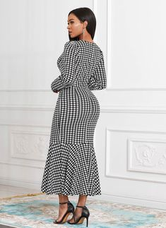 ROTITA Long Sleeve Houndstooth Print Round Neck Mermaid Dress | Rotita.com - USD $29.98 Party Dress Sale, Club Party Dresses, Long Sleeve Mermaid Dress, Maxi Dress With Sleeves, Elegant Dresses, Sexy Dresses, Dresses For Sale, Fashion Wear, Women's Fashion Dresses