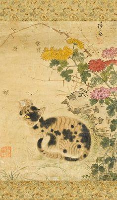 Unknown (Korean) Cat Under Chrysanthemums. 18th century