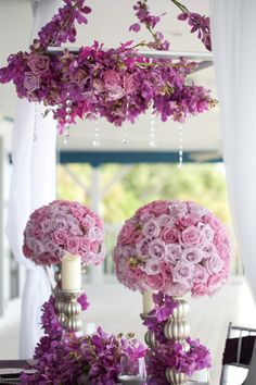 Opulent and gorgeous purple hanging centerpiece / FH Weddings & Events