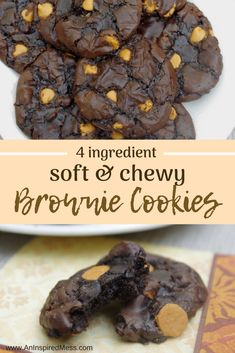 Quick and easy cookie recipe for Soft and Chewy Brownie Cookies! Four simple ingredients and optional mixins make this the perfect recipe for kids, tweens, and teens. Brownie Cookies Soft and Chewy Brownie Mix Cookies · An Inspired Mess Brownie Cookies, Chocolate Chip Cookies, Bake Sale Cookies, Bake Sale Treats, Bake Sale Recipes, Quick Cookies, Chewy Brownies, Baking Recipes, Bar Cookies