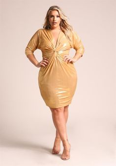 Plus Size Clothing | Plus Size Metallic Twisted Bodycon Dress | Debshops