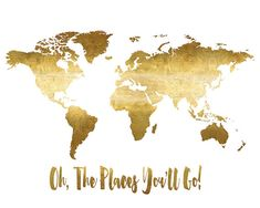 Printable World Map Poster Oh the Places You'll by EllenPrintable
