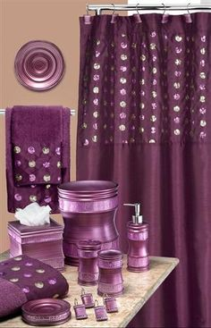 Sequins Purple Bath Accessory Set This Has Everything I Would Need To Go From