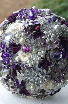 Majestic Purple Brooch Bouquet. DEPOSIT on made to order Heirloom bouquet. Wedding Broach Bouquet.. $75.00, via Etsy.