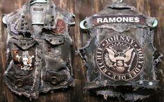 Custom Made Custom Vest Rock Metal Punk Stage Rockstar Leather Denim Ramones, Punk Fashion, Grunge Fashion, Anti Fashion, Battle Jacket, Combat Jacket, Custom Leather Jackets, Crust Punk, Punk Jackets