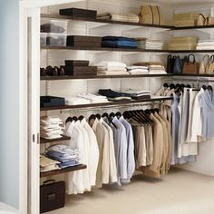 Walnut & White elfa décor Men's Walk-In Closet