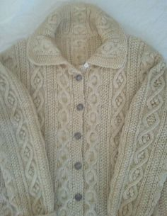 HAND KNIT IRISH WOOL HEAVYWEIGHT CARDIGAN SWEATER,BEAUTIFULLY DETAILED #Handmade #Cardigan