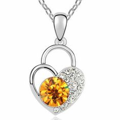 Half Carved Heart Pendant Necklace for Lady with Diamond Inlayed: USD $9.74