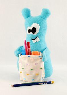 Plushie with pocket / Turquoise plush monster by HagerdesignAtHome @ ETSY $35.37 SO ADORABLE!!!