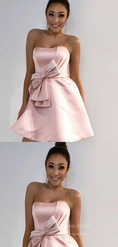 Lovely Dusty Pink Strapless Homecoming Dresses With Bow-Knot, Homecoming Dresses, Freshman Homecoming Dresses, Strapless Homecoming Dresses, Simple Homecoming Dresses, Two Piece Homecoming Dress, Long Sleeve Backless Dress, Dress With Bow, Famous Brands, Dusty Pink, Dream Dress
