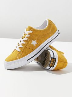 Converse one star suede sneaker urban outfitters. Yellow Converse, Converse Style, Converse One Star, Outfits With Converse, Sock Shoes, Cute Shoes, Me Too Shoes, Shoe Boots, Urban Outfitters