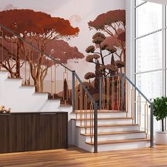 Fresques murales PaperMint - PaperMint Backdrop Design, Decoration, Interior Architecture, Backdrops, Sweet Home, Stairs, Tropical, Wallpaper, House