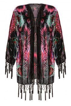 Jayley Black Silk Devore Kimono Jacket | Feather Design