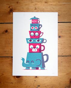 {tea time totem} silkscreen print by Peskimo - adorable!
