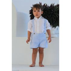 Linen Suspender Shorts & Shirt Set White Linen Dresses, Linen Shirt Dress, Light Blue Shorts, Short Shirts, White Long Sleeve, Boy Fashion, Colorful Shirts, Rompers, Flower