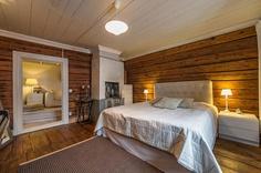 master bedroom in Old Porvoo Loft Conversion Bedroom, Scandinavian Cottage, Home Bedroom, Master Bedroom, Bedrooms, Log Homes, Home And Living, Interior Inspiration, House