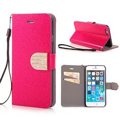 Luxury Bling Rhinestone and Glitter Magnetic with Card Slot and Stand Leather Case for the Iphone 6 4.7 Inch (LIGHT PINK):Amazon:Cell Phones & Accessories