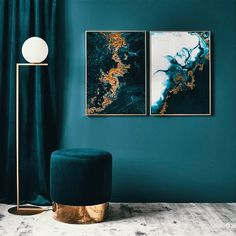 Blue Gold Poster in the group Prints / Art prints at Desenio AB Interior Desing, Interior Inspiration, Interior Decorating, Decor Room, Living Room Decor, Bedroom Decor, Home Decor, Blue Bedroom, Art Decor
