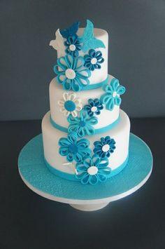 蓝白婚礼蛋糕