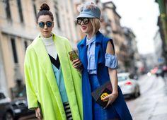 Beautiful blogger Alina Tanasa @fabulousteam wearing our blue patent leather skirt at Milan Fashion Week 2016