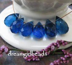 6 PC Montana Blue 8x12 Tear Drop Briolettes by dreamgirlbeads,