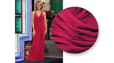 FAVIANA Berry pink mesh gown w/crossover v-neckline, sleeveless, shoulder straps enhanced w/silver rhinestones & gold braid, back w/crossed straps, left front slit skirt, flared hemline w/train.