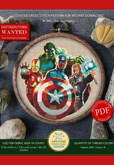 The Avengers Cross Stitch Pattern for instant download - 062 |Easy Cross Stitch| Counted Cross Stitch| Modern Cross Stitch|Embroidery Design #disney #marvel #affiliate #crossstitch #avengers