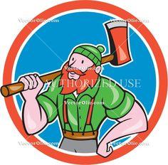 Paul Bunyan LumberJack Circle Cartoon Cartoon Stock Illustration