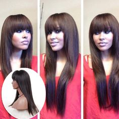 Full lace human hair wigs with bangs silky straight glueless front lace wigs with baby hair brazilian lace front human hair wigs