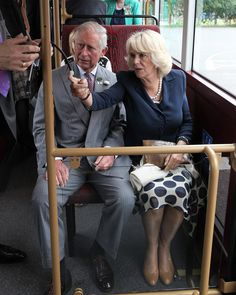 Prince Charles, Prince of Wales and Camilla, Duchess of Cornwall take a short ride on a New Bus for London during a visit to WrightBus on 25 June 2013 in Ballymena, County Antrim, Northern Ireland Prince Charles Et Camilla, Prince Phillip, Camilla Duchess Of Cornwall, Princess Kate Middleton, Prinz Harry, Camilla Parker Bowles, Hm The Queen, Royal Engagement, Herzog
