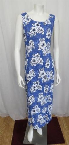 Winnie Fashion Retro style Blue and White floral Hawaiian wiggle dress size L | eBay