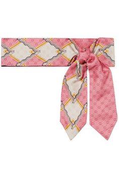 eae909fc130 Gucci - Intarsia Silk-twill Scarf - Pink