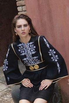 The new Spring/Summer 2019 campaign. 'Dorothea' embroidered dress decorated with golden buckles inspired by the traditional… Hidden Garden, Elegant Outfit, Resort Wear, Urban Fashion, Fashion Dresses, Bomber Jacket, Spring Summer, Traditional, Kaftans