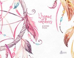 Dreamcatchers. Aquarell-Clipart. Tribal Federn diy von OctopusArtis