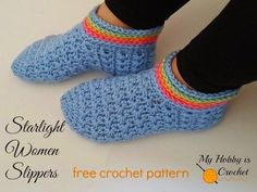 Starlight Women Slippers - Free Crochet Pattern on myhobbyiscrochet.com