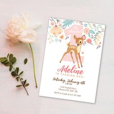 Online invitations from invite friends woodland baby showers and baby deer first birthday party invitation printable customized diy invitation girls first filmwisefo