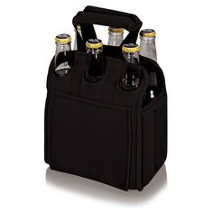 313ceb3f83fd53 Picnic Time Six Pack Cooler Tote Black Premium Beer, Aluminum Cans, Extra  Storage,