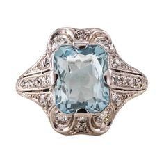 Bailey Banks & Biddle Art Deco Aquamarine Diamond Platinum Ring | From a unique collection of vintage cluster rings at https://www.1stdibs.com/jewelry/rings/cluster-rings/